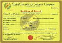Fake certificate of ownership