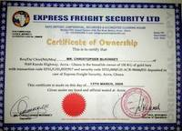 Express Freight Security LTD - The Fake Certificate of Ownership